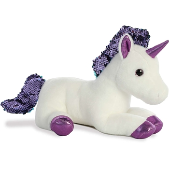 White Plush Unicorn with Reversible Purple Sequins by Aurora