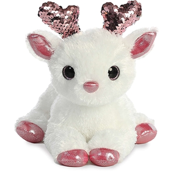 White Plush Deer with Reversible Pink Sequins by Aurora