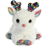 White Plush Deer with Reversible Rainbow Sequins by Aurora