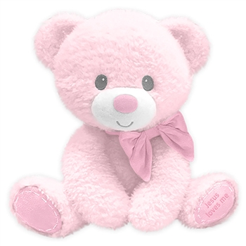 Small Jesus Loves Me Baby Safe Pink Plush Bear by First and Main