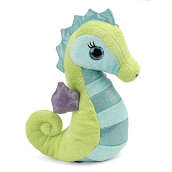 Sasha the Sparkly Green Stuffed Seahorse 10 Inch by First and Main