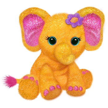 Elena the Sparkly Orange Plush Elephant by First and Main
