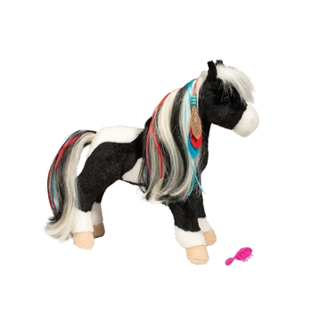 Warrior Princess the Plush Black and White Horse with Brush by Douglas