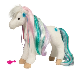 Rainbow Princess the Plush White Horse with Brush by Douglas