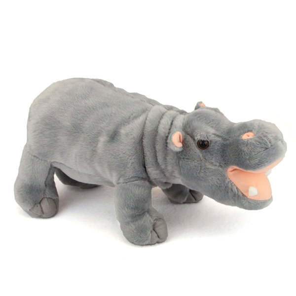 Stuffed Hippopotamus 14 Inch Realistic Plush Animal Fiesta
