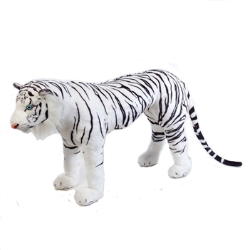 Stuffed White Tiger 40 Inch Ride-On Plush Animal by Fiesta