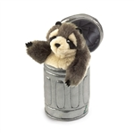 Raccoon in a Garbage Can Stage Puppet by Folkmanis Puppets