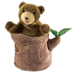 Bear in Tree Stump Hand Puppet by Folkmanis Puppets