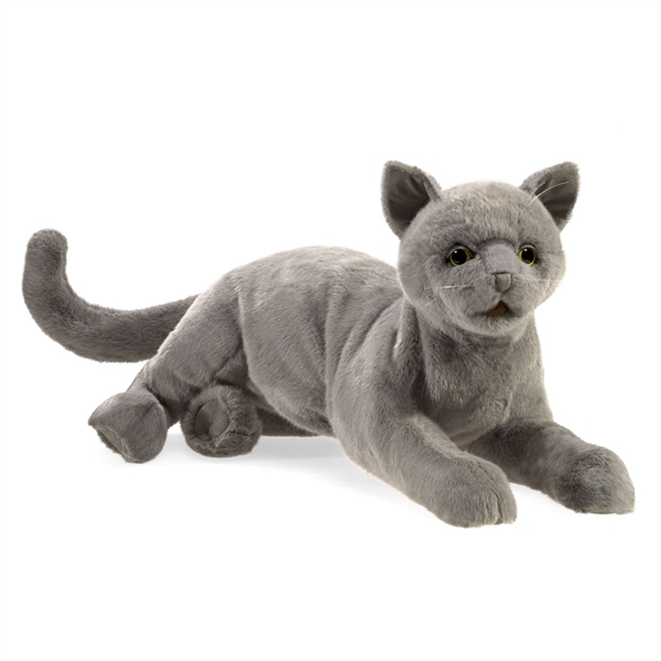 Purring Gray Cat Puppet Folkmanis Puppets Stuffed Safari