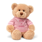 Its a Girl Teddy Bear with Embroidered Pink Shirt by Gund