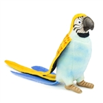 Handcrafted 7 Inch Lifelike Blue Parrot Stuffed Animal by Hansa