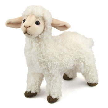Lifelike White Lamb Stuffed Animal by Hansa - Handcrafted - 10 Inch