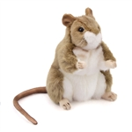 Handcrafted 6 Inch Standing Lifelike Stuffed Brown Mouse by Hansa