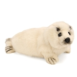 Handcrafted 12 Inch Lifelike Harp Seal Pup Stuffed Animal by Hansa