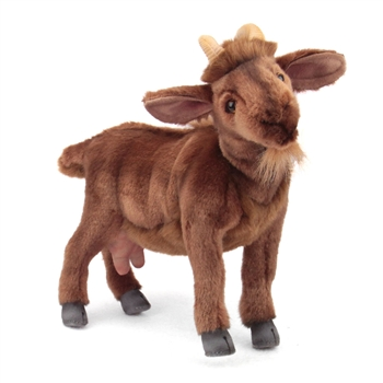 Handcrafted 13 Inch Lifelike Brown Goat Stuffed Animal by Hansa