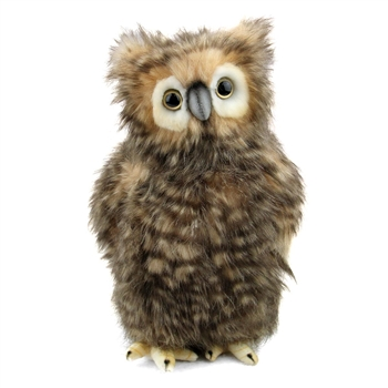 Handcrafted 9 Inch Lifelike Baby Brown Owl Stuffed Animal by Hansa