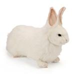 Handcrafted 14 Inch Lifelike White Rabbit Stuffed Animal by Hansa