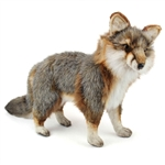 Handcrafted 16 Inch Lifelike Gray Fox Stuffed Animal by Hansa
