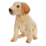 Lifelike Sitting Yellow Lab Puppy Stuffed Animal by Hansa