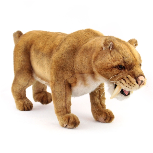 Handcrafted 18 Inch Lifelike Saber Tooth Tiger Stuffed Animal By
