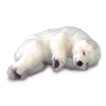 Handcrafted 12 Inch Lifelike Sleeping Stuffed Polar Bear Cub by Hansa