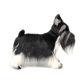 Lifelike Black Miniature Schnauzer Stuffed Animal by Hansa