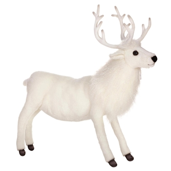 Lifelike White Reindeer Stuffed Animal by Hansa