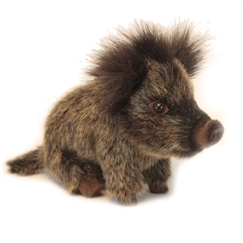 Handcrafted 8 Inch Lifelike Seated Baby Boar Stuffed Animal by Hansa