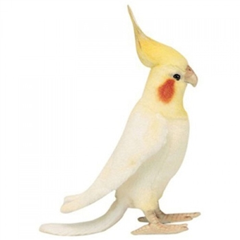 Handcrafted 9 Inch Lifelike White Cockatiel Stuffed Animal by Hansa