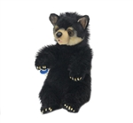Lifelike Sitting Black Bear Cub Stuffed Animal by Hansa