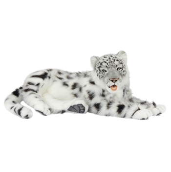 Lifelike Lying Snow Leopard Stuffed Animal by Hansa
