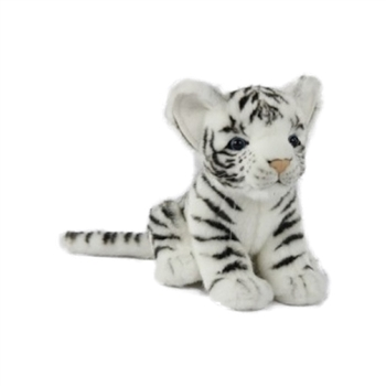 Handcrafted 6 Inch Sitting Lifelike White Tiger Cub Stuffed Animal by Hansa