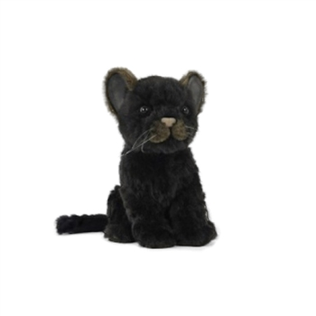 Handcrafted 6 Inch Sitting Lifelike Black Jaguar Stuffed Animal by Hansa