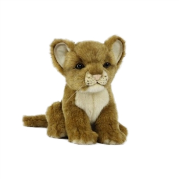 Handcrafted 6 Inch Sitting Lifelike Lion Cub Stuffed Animal by Hansa