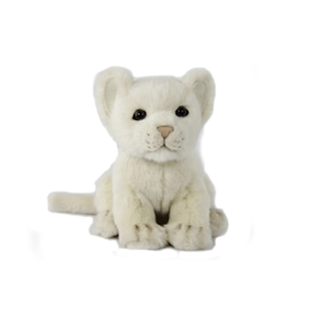 Handcrafted 6 Inch Sitting Lifelike White Lion Cub Stuffed Animal by Hansa