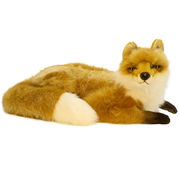 Handcrafted 23 Inch Lifelike Lying Red Fox Stuffed Animal by Hansa