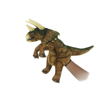 Handcrafted 17 Inch Lifelike Full Body Green Triceratops Puppet by Hansa