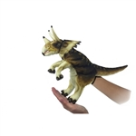 Handcrafted 17 Inch Lifelike Full Body Cream Triceratops Puppet by Hansa