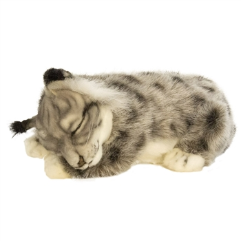 Handcrafted 11 Inch Lifelike Lying Baby Lynx Stuffed Animal by Hansa