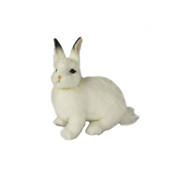 Handcrafted 13 Inch Lifelike White Rabbit Stuffed Animal by Hansa
