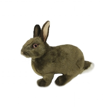 Handcrafted 13 Inch Lifelike Brown Rabbit Stuffed Animal by Hansa