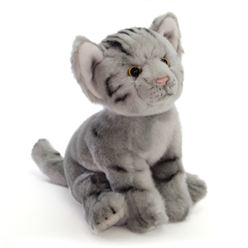 Lifelike Stuffed Gray Tabby Kitten by Nat and Jules