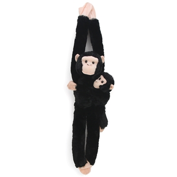 Hanging Stuffed Chimpanzee with Baby by Wild Republic