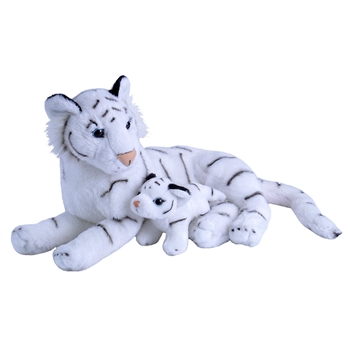 Mom and Baby White Tiger Stuffed Animals by Wild Republic