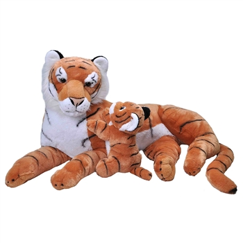 Jumbo Mom & Baby Tiger Stuffed Animals by Wild Republic