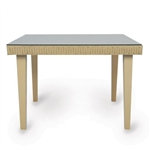 "Lloyd Flanders Hamptons 42"" Square Wicker Top Dining Table w/ lay on glass"