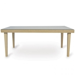 "Lloyd Flanders Hamptons 42""x72"" Rect.Wicker Top Dining Table w/ lay on glass"