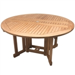 "Royal Teak 60"" Round Drop Leaf Table"