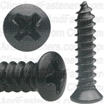 "#8 X 3/4"" #6 Phillips Oval Head Tapping Screws Black Oxide"