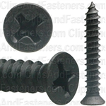 "#8 X 1"" Phillips Flat #6 Head Tapping Screw Black Oxide"